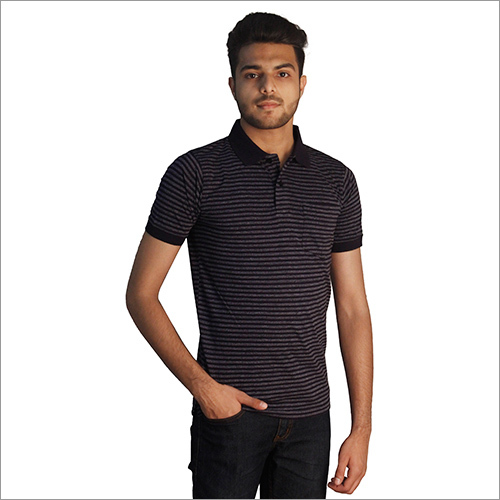 Mens Strips Printed Cotton Polo Neck T-Shirt