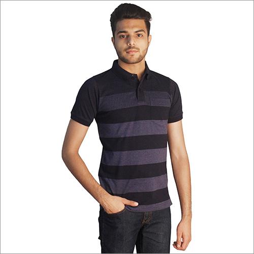Mens Trendy Print Cotton Polo Neck T-Shirt