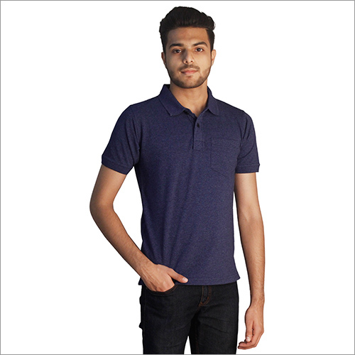 Mens Modern Print Cotton Polo Neck T-Shirt