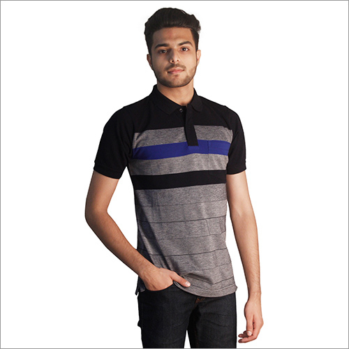 Mens Printed Pure Cotton Polo Neck T-Shirt