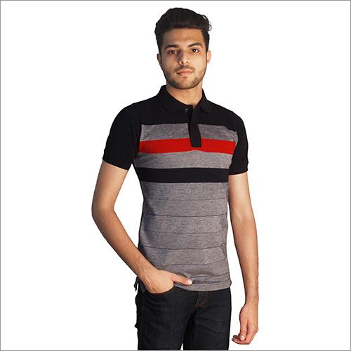 Mens Printed Polo Neck T-Shirt