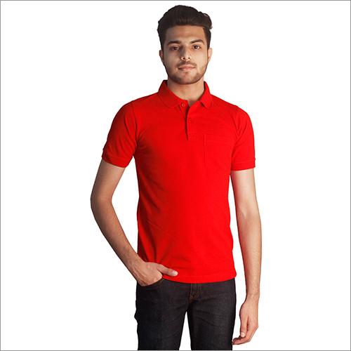 Mens Plain Red Cotton Polo Neck T-Shirt