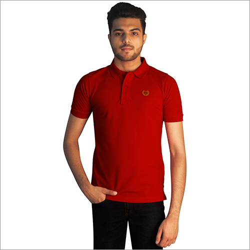 Mens Plain Red Pure Cotton Polo Neck T-Shirt