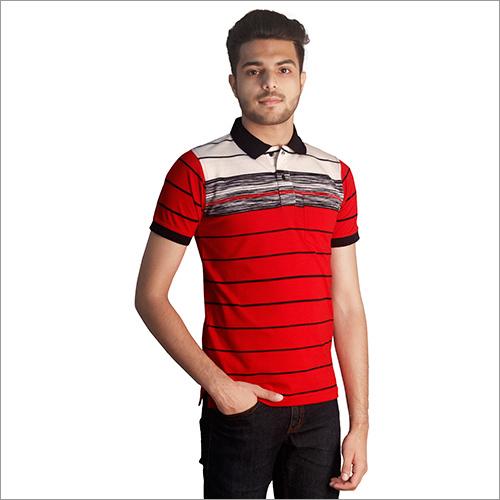 Mens Customized Print Cotton Polo Neck T-Shirt