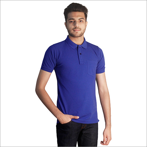 Mens Plain Royal Blue Cotton Polo Neck T-Shirt