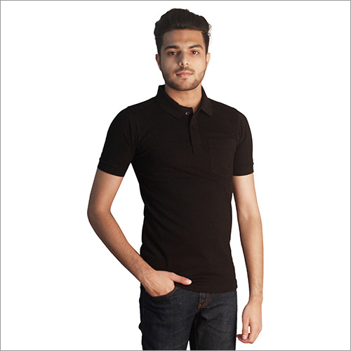 Mens Plain Cotton With Pocket Polo Neck T-Shirt