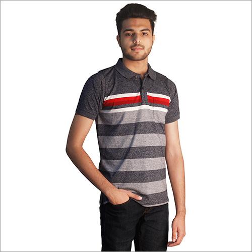 Mens Printed Slub Blue Cotton Polo Neck T-Shirt