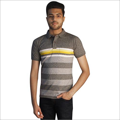 Mens Printed Slub Grey Color Polo Neck T-Shirt