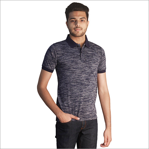 Mens Plain Slub Navy Color Polo Neck T-Shirt