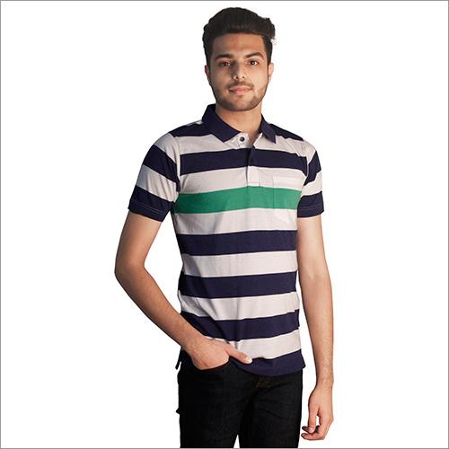Mens Printed Slub Navy Color Polo Neck T-Shirt