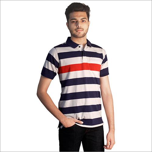 Mens Printed Slim Fit Polo Neck T-Shirt