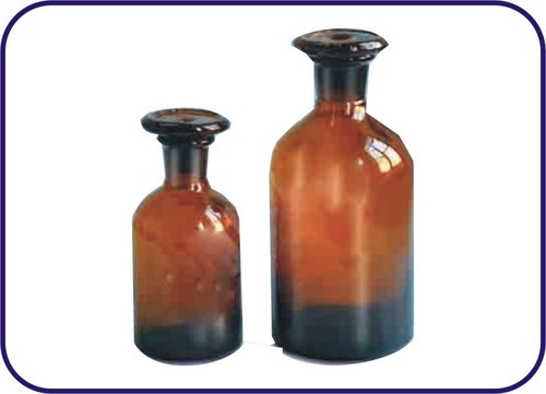 REAGENT BOTTLE WITH DUST PROOF FLAT STOPPER NARROW MOUTH, AMBER COLOUR