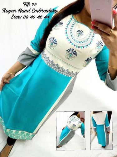 Rayon Hand Embroidered Kurti