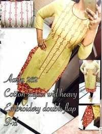 Cotton Rayon With embroidery Double Flap Kurti