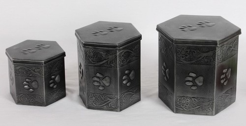 SIX SIDE GRAY PAW MARK PET URN