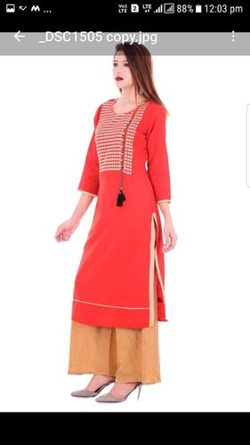 Cotton Slub Embroidered Work Kurti