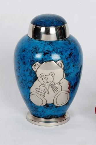 BLUE SILVER TEDDY BEAR PET URN