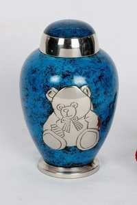 BLUE SILVER TEDDY BEAR PET URN