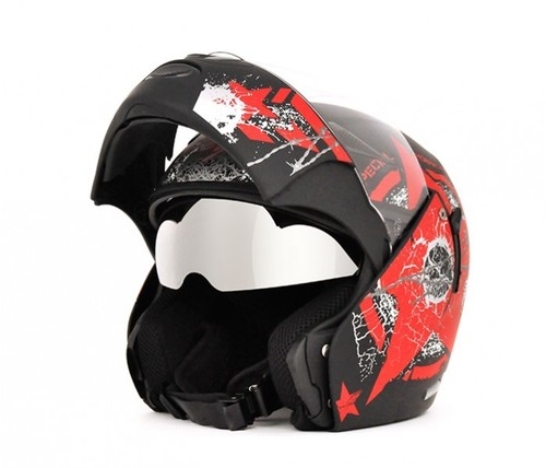 Boolean Navy Dull Black Base With Red Graphic Helmet