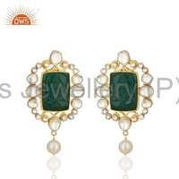 Natural Green Onyx Hand Carved Earrings