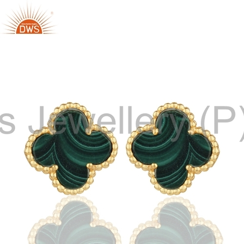 Clover Design Gold Plated Silver Earring