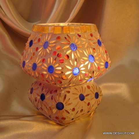 Glass Table Lamp Metal  Handcrafted Mosaic Design Decorated Glass Table Lamp