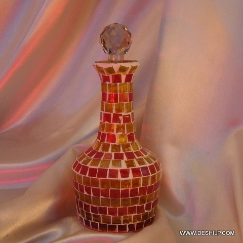 Red Mosaic glass Decanter Pretty and decorative vintage Decanter