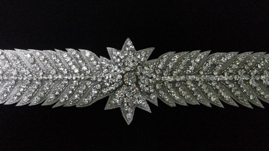 Silver crystal stone work belt