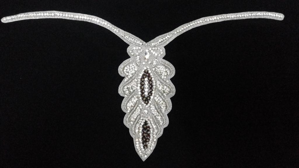 Gorgeous slim work crystal neckline for customized dresses