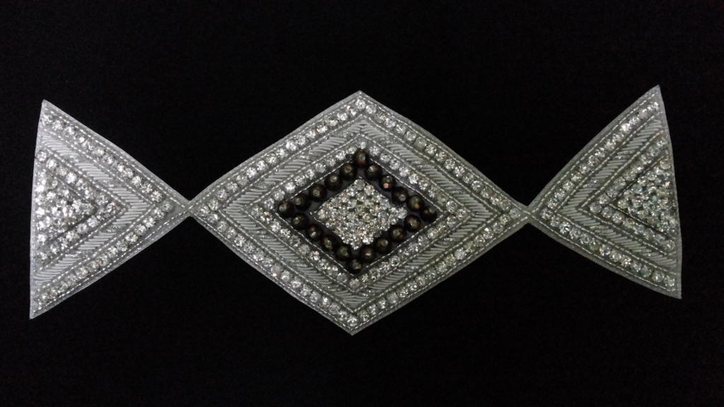 Kite style beaded stone work patch