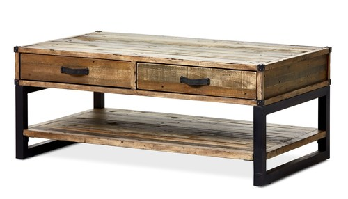 Industrial Reclaimed wood Coffee Table with Drawers
