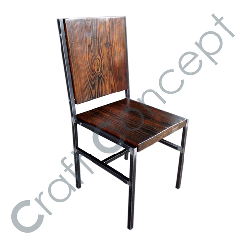 WOODEN WITH METAL LEGS CHAIR