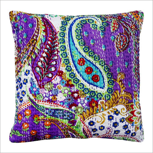 Purple Paisley Embroidered Cushion Cover