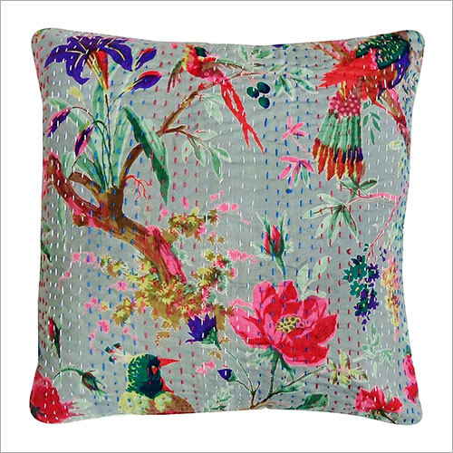 Beautiful Rajasthni Bird Print Kantha Work Cushion Cover