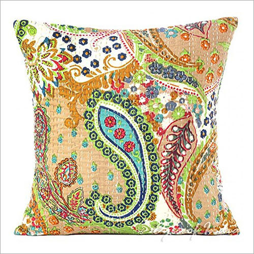 Beige kantha Embroidered Cushion Cover