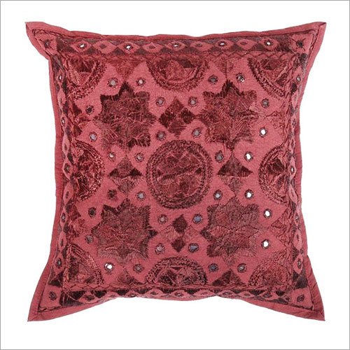 Dark Maroon Red Mirror Embroidered Decorative Sofa Bohemian Pillow Cushion Throw Cover