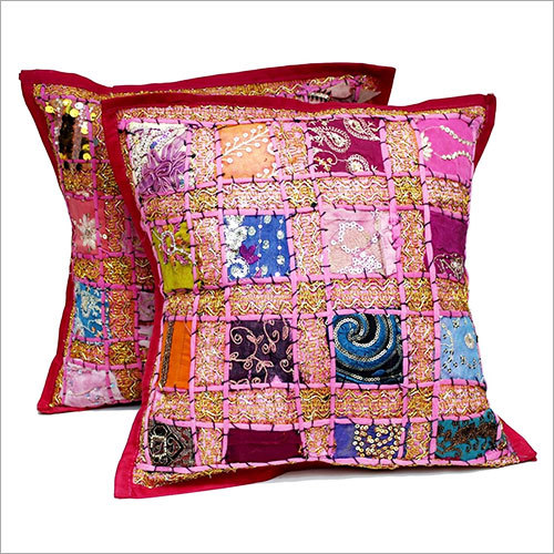 Embroidery Sequin Patchwork Indian Cushion Cover