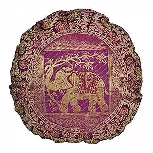 Elephant Round Pink Silk Cushion Throw