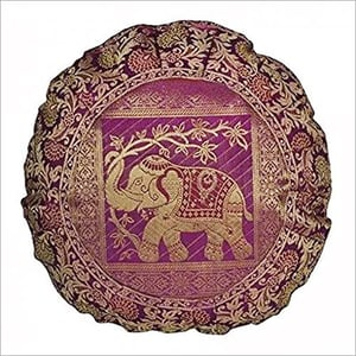 Elephant Round Pink Silk Cushion Throw