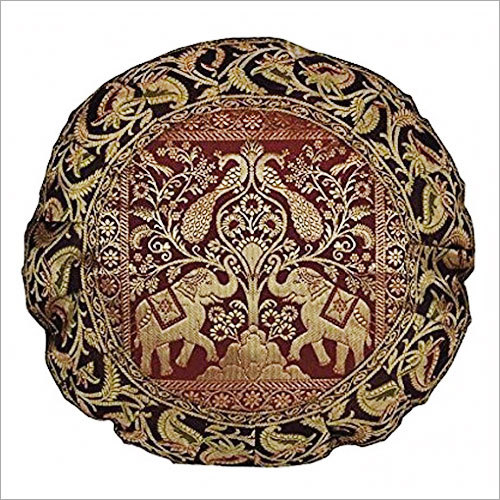 Handcrafted Peacock Work Design Round Elephant Silk Brocade Cushion Cover