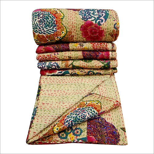 100% Cotton Quilt Floral Pattern Beige Home Decor Kantha