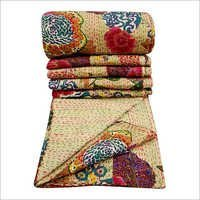100% Cotton Quilt Floral Pattern Beige Home Decor Kantha