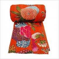 Floral Print Decorative Kantha Stitch Quilt Pure Cotton