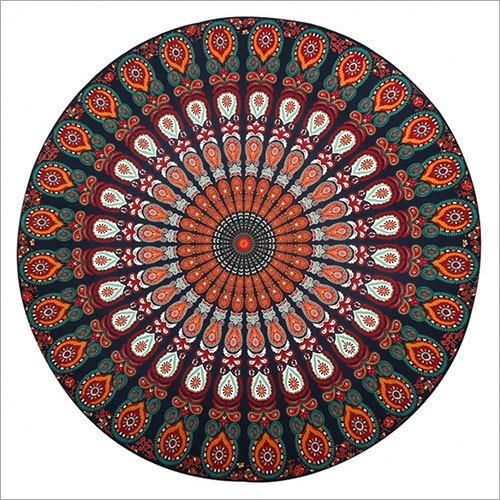 Hippie Mandala Handmade Cotton Round Tapestry