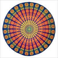 Handmade Sanganeer Peacock Mandala 72 Round 100% Cotton Tablecloth