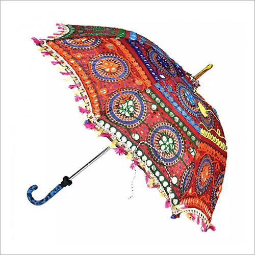 Indian Embroidery Designer Maroon Umbrella