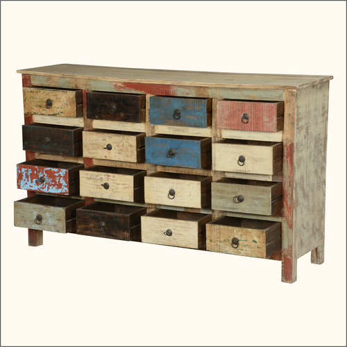 Multicolour Reclaimed Wood Sixteen Drawer Chest