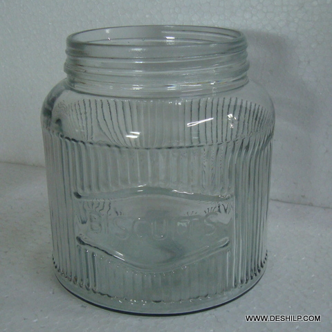 Ribbed Cutting Glass Jar with glass lid