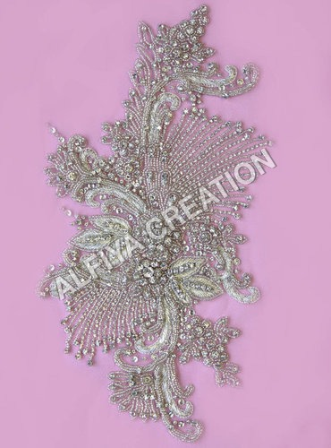 Exclusive crystal beaded patch work applique