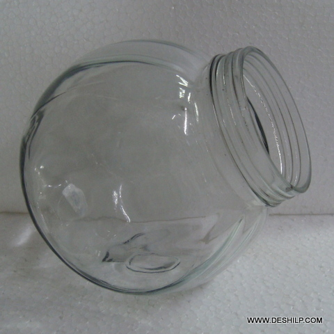 Ribbed Glass Jar with glass lid
